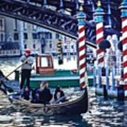 Gondola In Venice On Grand Canal Art Print