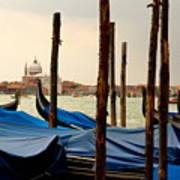 Gondolas And Poles In Venice Art Print