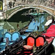 Gondolas Fresco  Art Print