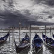 Gondolas In Front Of San Giorgio Island Art Print