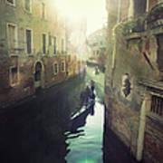 Gondolas In Venice Against Sun Art Print by Marco Misuri