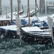 Gondolas In Venice During Snow Storm Art Print