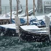 Gondolas In Venice During Snow Storm Art Print