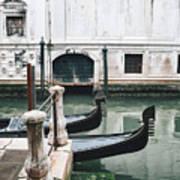 Gondolas On A Canal In Venice, Italy Art Print