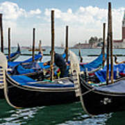 Gondolas On The Grand Canal Art Print