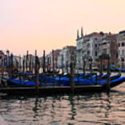Gondolas On The Grand Canal In Venice In The Morning Art Print