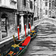 Gondolas On Venice. Black And White Pictures With Colour Detail  Art Print