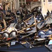 Gondolas Parked In Venice II Art Print