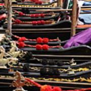 Gondolas Parked In Venice Art Print