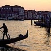 Gondolier In Venice In Silhouette Art Print