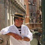 Gondolier In Venice Waiting For A Fare Art Print