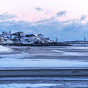 Good Harbor Beach And Thacher Island Covered In Snow Gloucester Ma Art Print