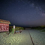 Good Harbor Beach Sign Under The Stars And Milky Way Art Print