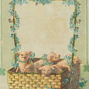 Good Luck Basket With Pigs Art Print