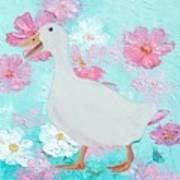Goose On Floral Background Art Print