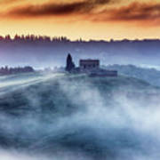 Gorgeous Tuscany Landcape At Sunrise Art Print