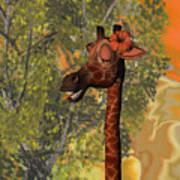 Gossiping Giraffe Art Print