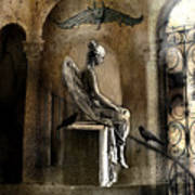 Gothic Surreal Angel With Gargoyles And Ravens  Art Print