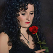 Gothic Woman With Rose Art Print