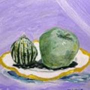 Gourd And Green Apple On Haviland Art Print