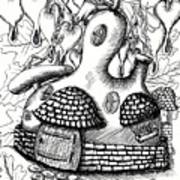Gourd Fairy House With Snail And Preying Mantis Art Print