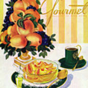 Gourmet Cover Featuring A Centerpiece Of Peaches Art Print