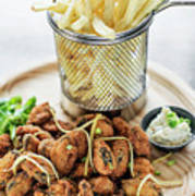 Gourmet Fried Octopus Calamari Style Set Meal With Fries Art Print