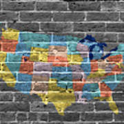 Graffiti  Map Of The United States Of America Art Print