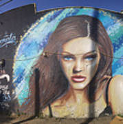 Graffiti Street Art Mural Around Melrose Avenue In Los Angeles, California  Art Print