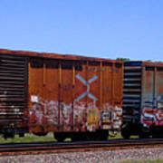 Graffiti Train With Billboard Art Print