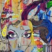 Graffiti Woman Face Art Print