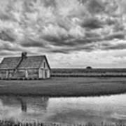 Grain Barn And Sky - Reflection Art Print
