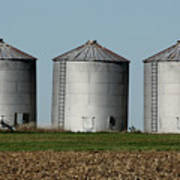 Grain Bins In A Row Art Print