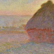 Grainstack, Sunset Art Print