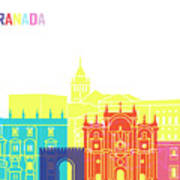 Granada Skyline Pop Art Print