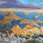 Grand Canyon Visitors At Sunrise Art Print