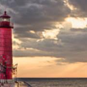 Grand Haven Lighthouse Hdr Art Print