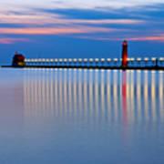 Grand Haven Pier Lights At Night Art Print