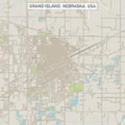 Grand Island Nebraska Us City Street Map Art Print