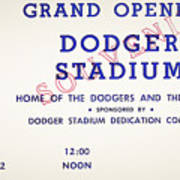 Grand Opening Dodger Stadium Ticket Stub 1962 Art Print