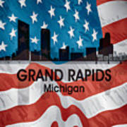 Grand Rapids Mi American Flag Squared Art Print