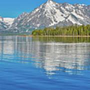 Grand Teton Mountain Reflection On Jackson Lake Art Print