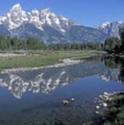 Grand Teton Reflection At Schwabacher Landing Art Print