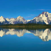 Grand Teton Reflection Wood Texture Art Print