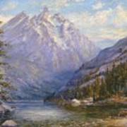 Grand Tetons And Jenny Lake Tryptych Center Art Print by Lewis A Ramsey