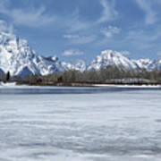 Grand Tetons And Snake River From Oxbow Bend 16-9 Art Print