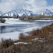 Grand Tetons From Oxbow Bend Art Print