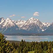 Grand Tetons Over Jackson Lake Panorama Art Print