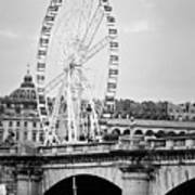 Grande Roue In Paris - Black And White Art Print