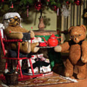 Grandpa And Grandma Teddy Bears' Christmas Eve Art Print